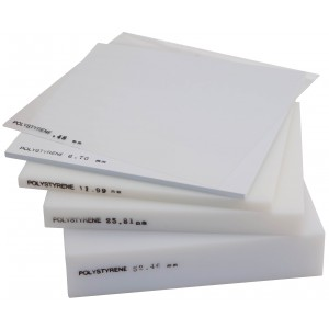 Polystyrene Sheet, White - 0.80mm Thick (1/32 Inch) x 25cm Square