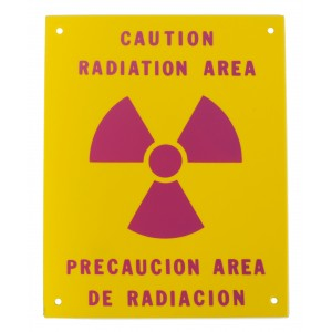 PVC Sign, Caution: Radiation Area, Spanish/English, Sign 8 x 10 Inch