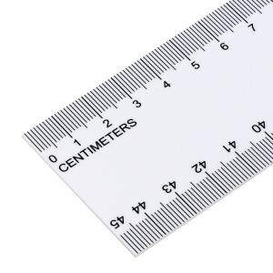 White Plastic Rule, 5.1cm Wide x 45cm Long, Package of 12