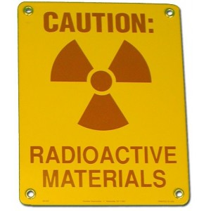 Steel Sign, Caution: Radiation Materials, Sign 8 x 10 Inch