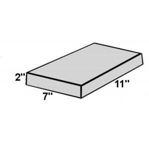 Covered Foam Rectangle, 7 inch x 11 inch x 2 inch