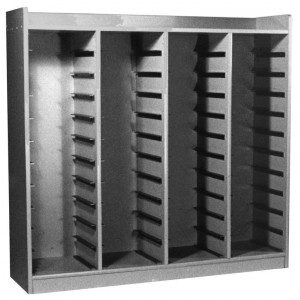 Block Storage Cabinet, 44 Trays Size, 9 3/4 Inch to 10 1/4 Inch