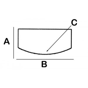 Convex-Rectangular Lead Block 3cm x 12cm x 10cm x 8cm High