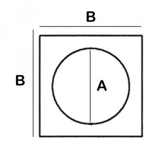 9cm Divergent Hole in 12cm square Lead Block, 5cm High