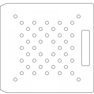 10 Inch Wide Varian CL4 3/8 inch thick Polycarbonate Tray 44 - 3/8 inch diameter holes with No Scribing